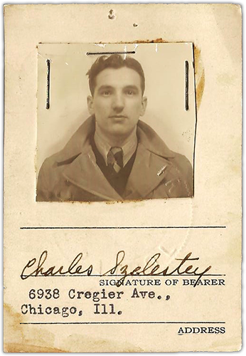 The picture shows Charles Szelestey's pilot card from 1941