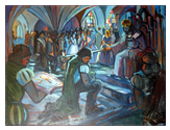The knighting of György Thúry (painting by László Szelestey 1939-1991)